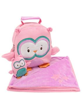 83bdfd505bd7 Product Image Animal Adventure Kid Backpack Set Happy Travel Set Bag  Blanket School Owl Pink