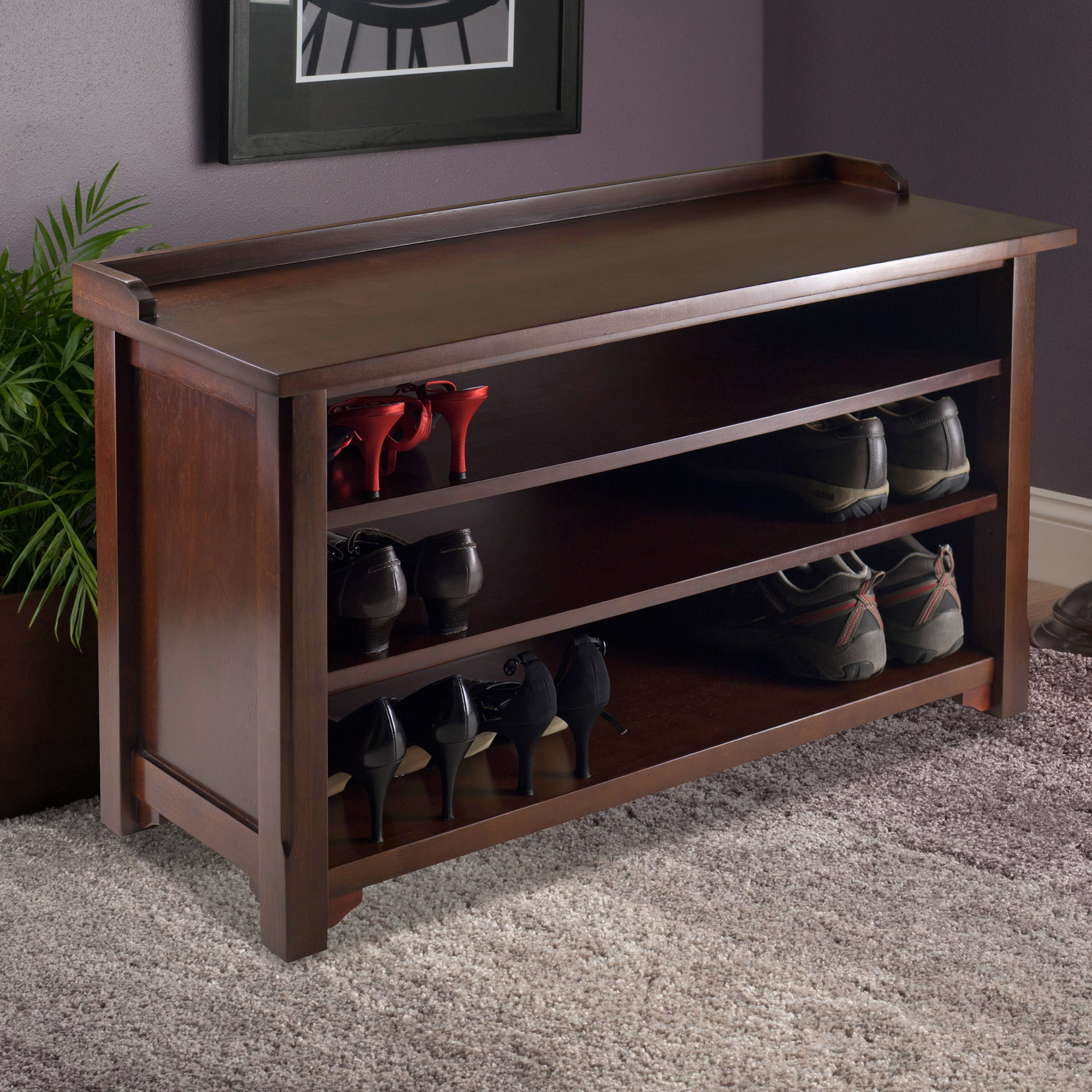 Tremendous Winsome Dayton Entryway Shoe Storage Bench Walnut Gmtry Best Dining Table And Chair Ideas Images Gmtryco