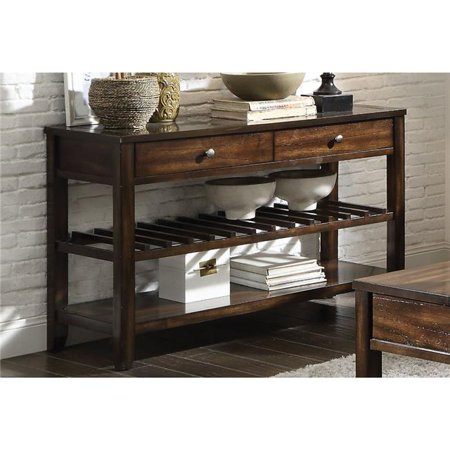 Benzara BM185802 Top Marble Inlay Sofa Table with One Drawer & Bottom Shelf, Brown
