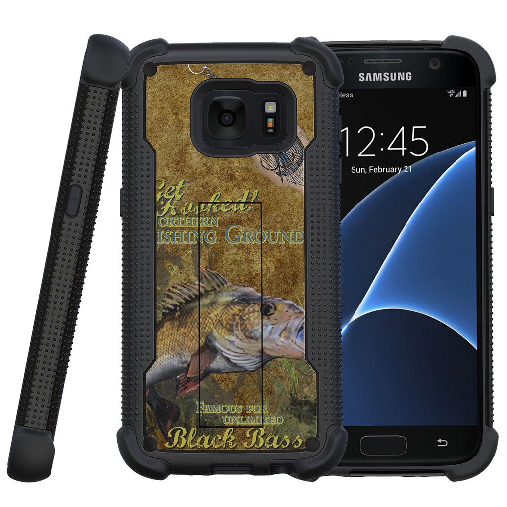 Samsung Galaxy S7 Case | Galaxy S7 Phone Case [ShockWave Armor] Dual Layer High Impact Case w/ Kickstand - Big Game Bass