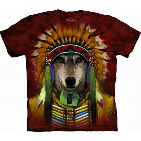 Red Cotton Wolf Spirit Chief Design Novelty Adult T-Shirt NEW