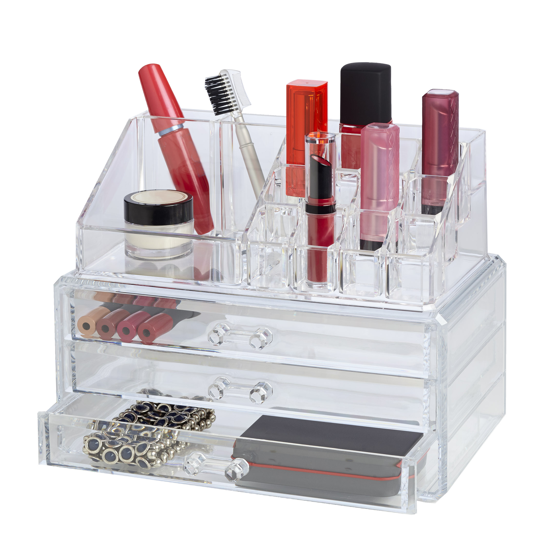 Richards Homewares Clearly Chic 19 Compartment Cosmetic Organizer with 3 Drawer