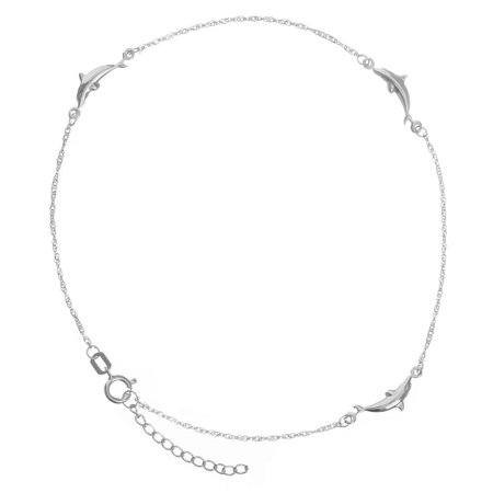 14k White Gold Adjustable Dolphin Station Twist Singapore Chain Ankle Bracelet - 1.3 Grams - 10 (Chain Twisted Anklet)