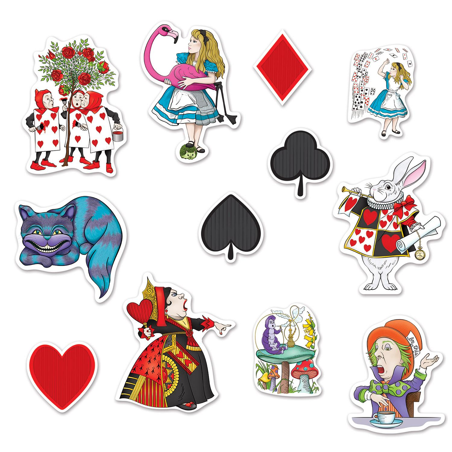 Club Pack of 144 Alice In Wonderland Party Cutouts Wall Decorations