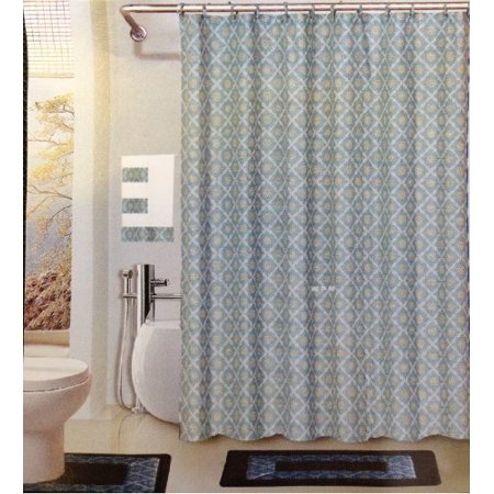 Dynasty blue 18 piece bathroom set 2 rugs mats 1 fabric for Fancy bathroom sets