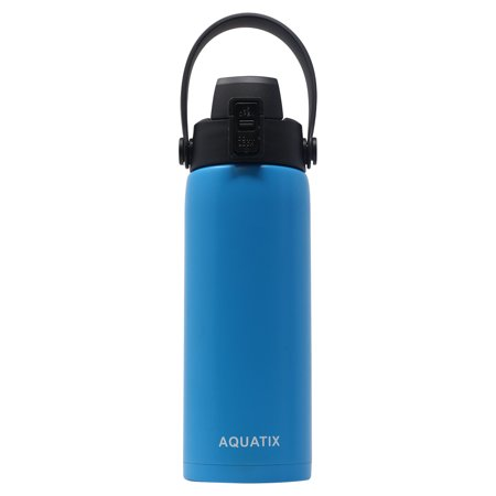 New Aquatix (Sea Mist Blue, 21 Ounce) Pure Stainless Steel Double Wall Vacuum Insulated Sports Water Bottle Convenient Flip Top Cap with Removable Strap Handle - Keeps Drinks Cold 24 hr/Hot 6 hr Double Notch Steel Strap