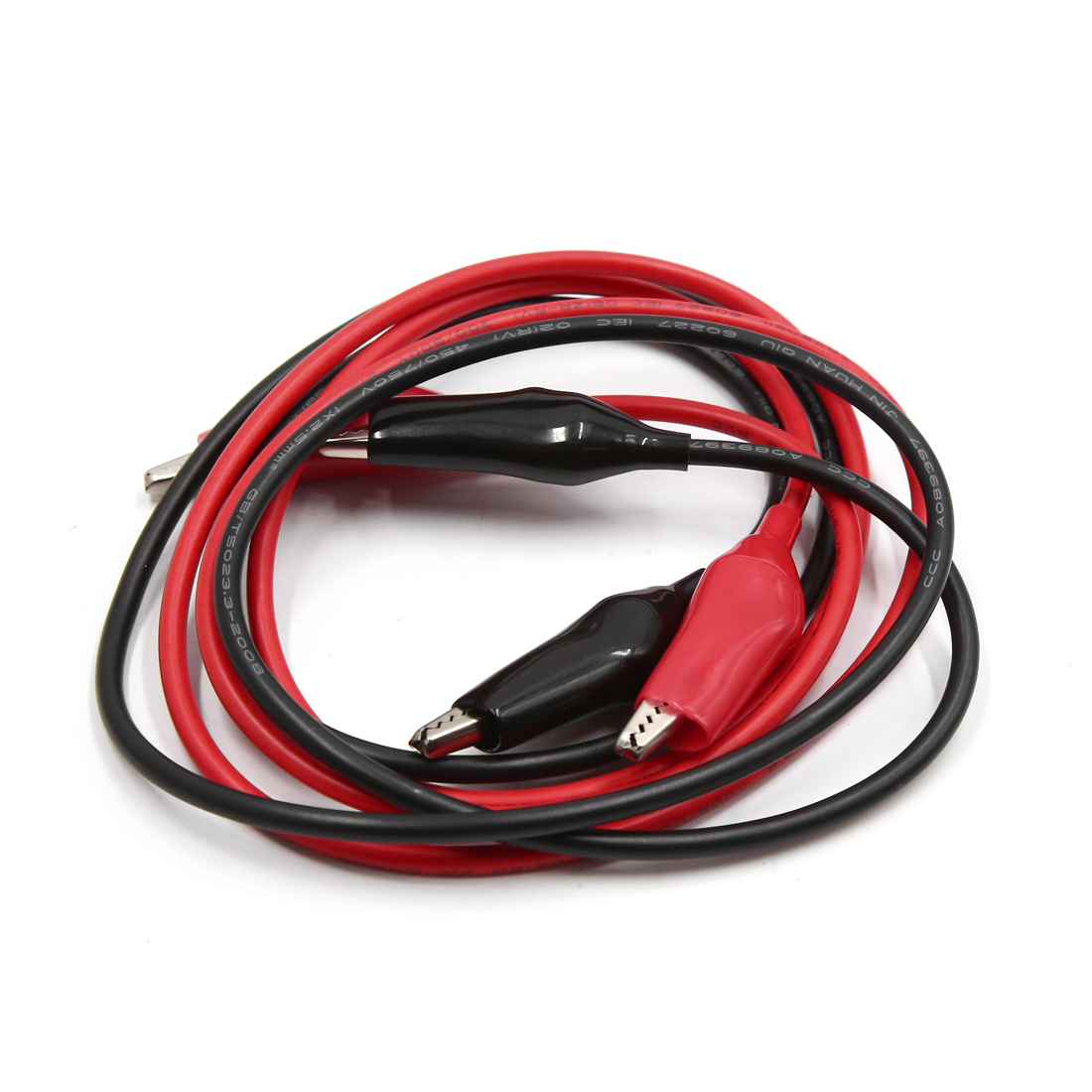 2pcs 1.05M Red Black Car Battery Insulated Test Clips Wiring Alligator Clip