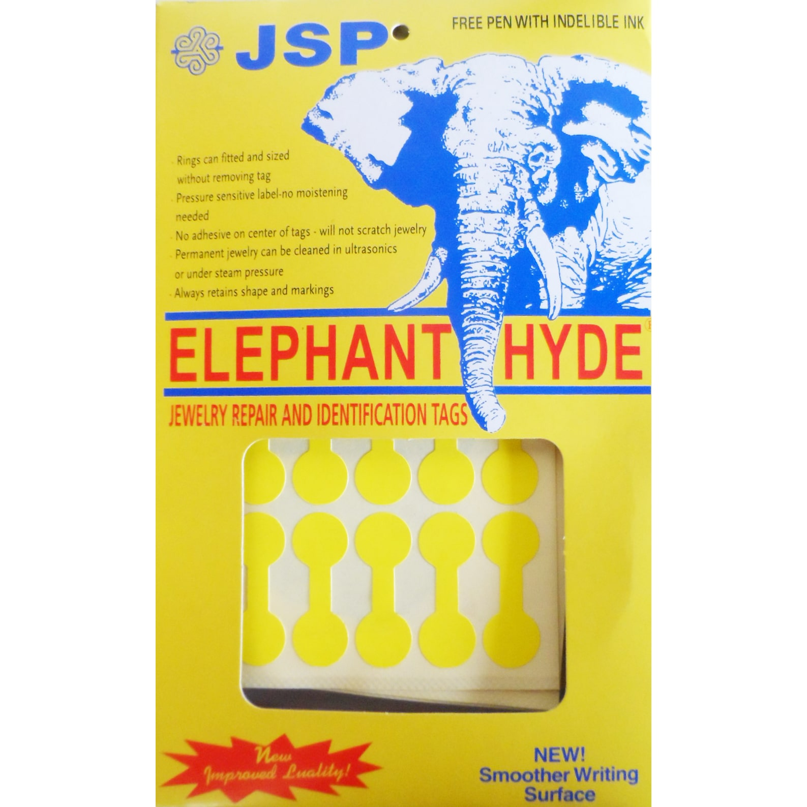 JSP ®2 BOXES ELEPHANT HYDE JEWELERS PRICE TAGS  YELLOW 1000 TAGS W/PEN (ta74x2)