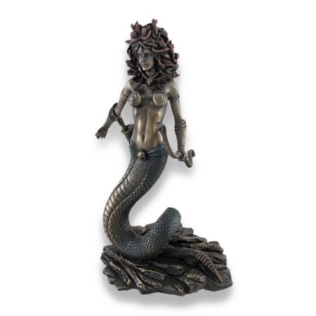Bronzed Medusa with Double Snake Bow and Arrows Statue