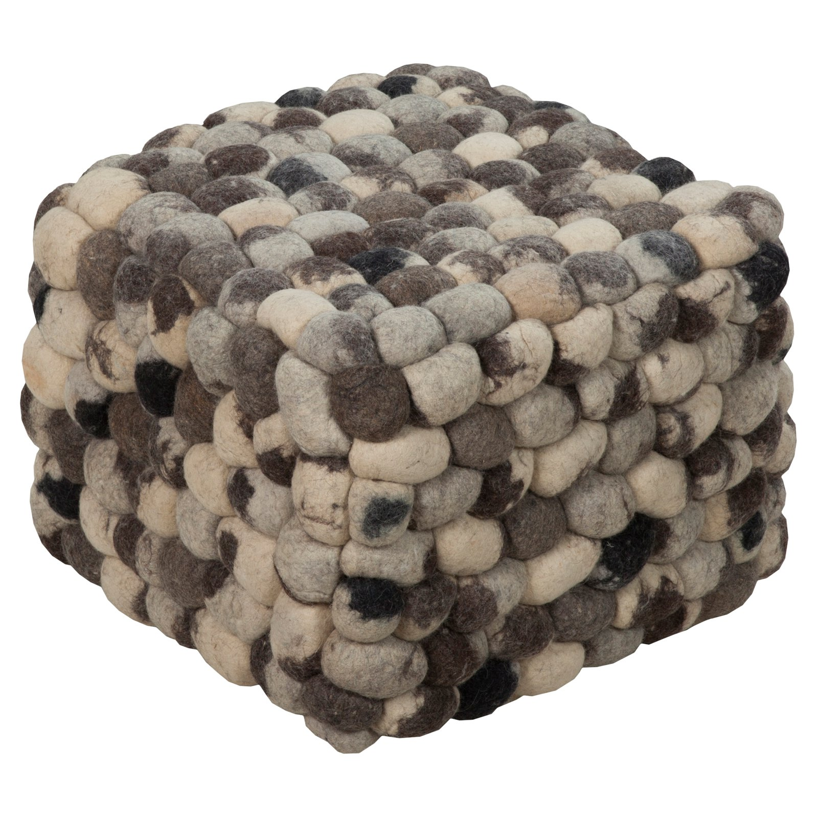 Surya 18 in. Pebble Square Wool Ottoman Dark Lavender Gray by Surya Rugs