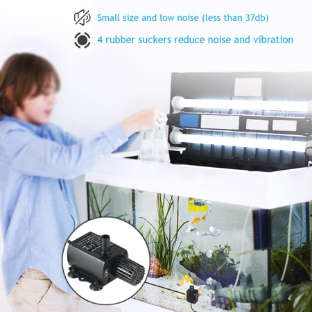 Decdeal USB DC5V 2.4W Ultra-quiet Mini Brushless Water Pump Waterproof Submersible Fountain Aquarium Circulating 250L/H Lift 200cm - image 3 de 7
