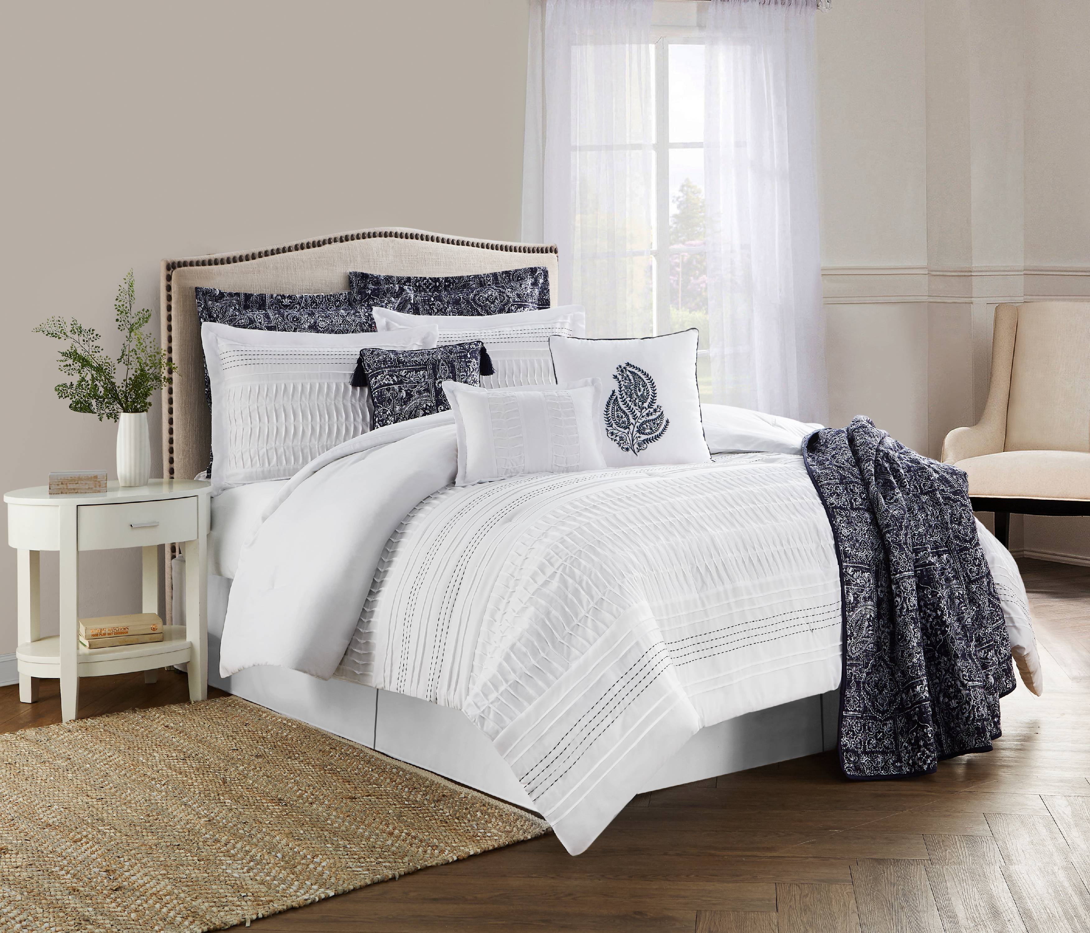 7-Piece Textured Paisley Striped Medallion Embroidery Comforter Set