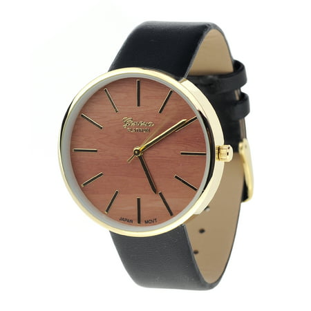 Unisex Geneva Stainless Steel Back Wood-Look Dial Black Faux Leather Strap Watch (Geneva Watches Men)