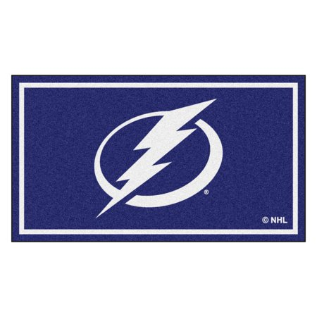 3' x 5' Blue and White NHL Tampa Bay Lightning Rectangular Plush Area Throw Rug ()