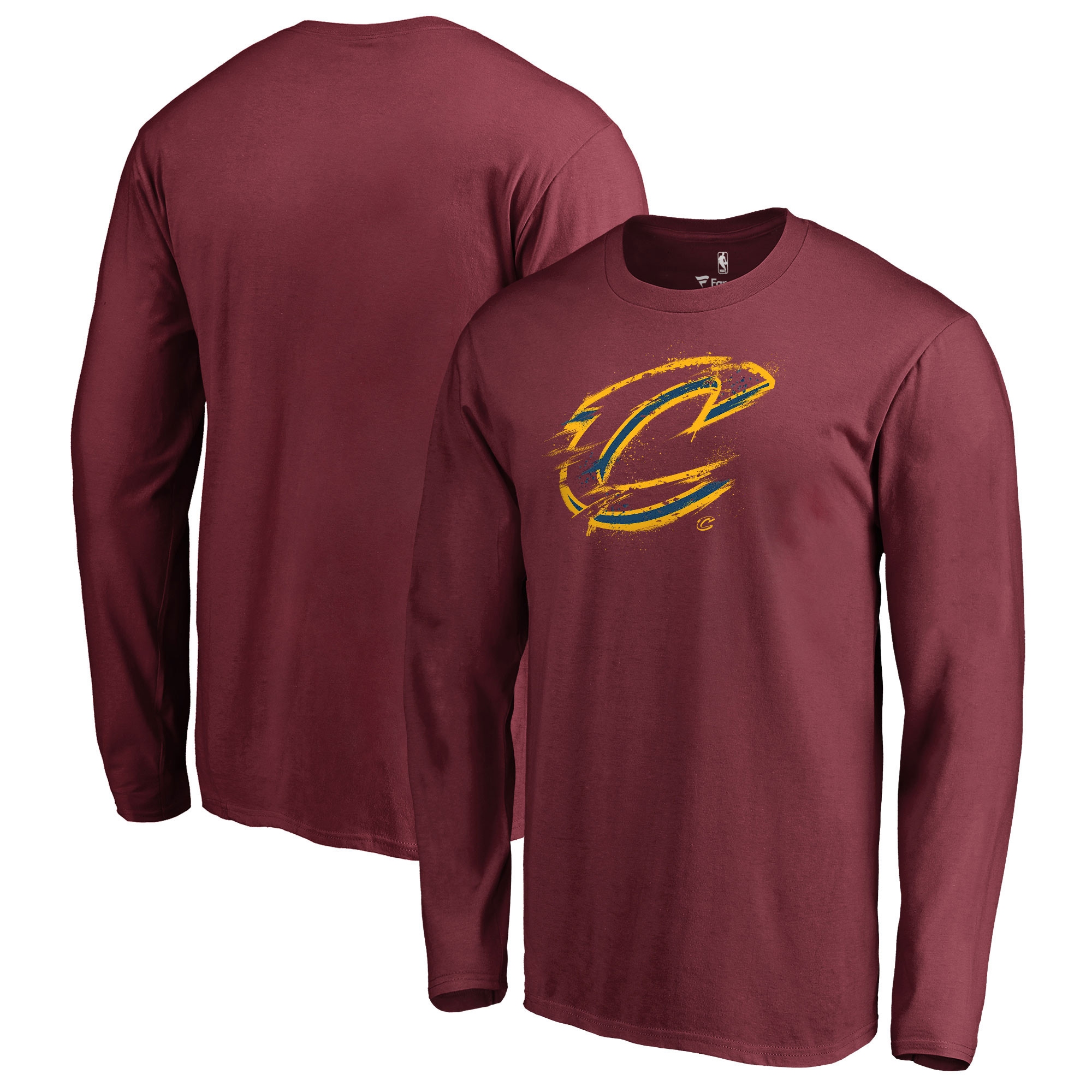 Cleveland Cavaliers Fanatics Branded Spatter Logo Long Sleeve T-Shirt - Wine