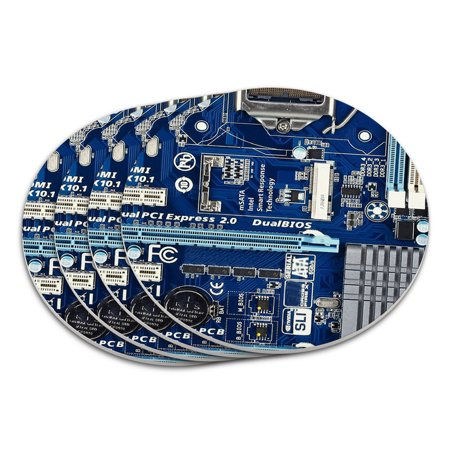 Blue Computer Motherboard Processor CPU Memory Coaster
