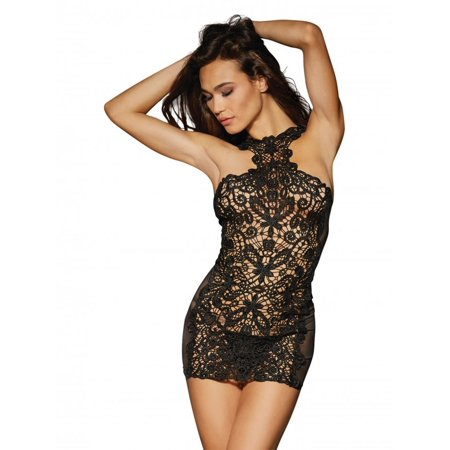 Lace & Stretch Spandex Mesh Versatile Chemise w/Adjustable Ribbon & G-String Black XS