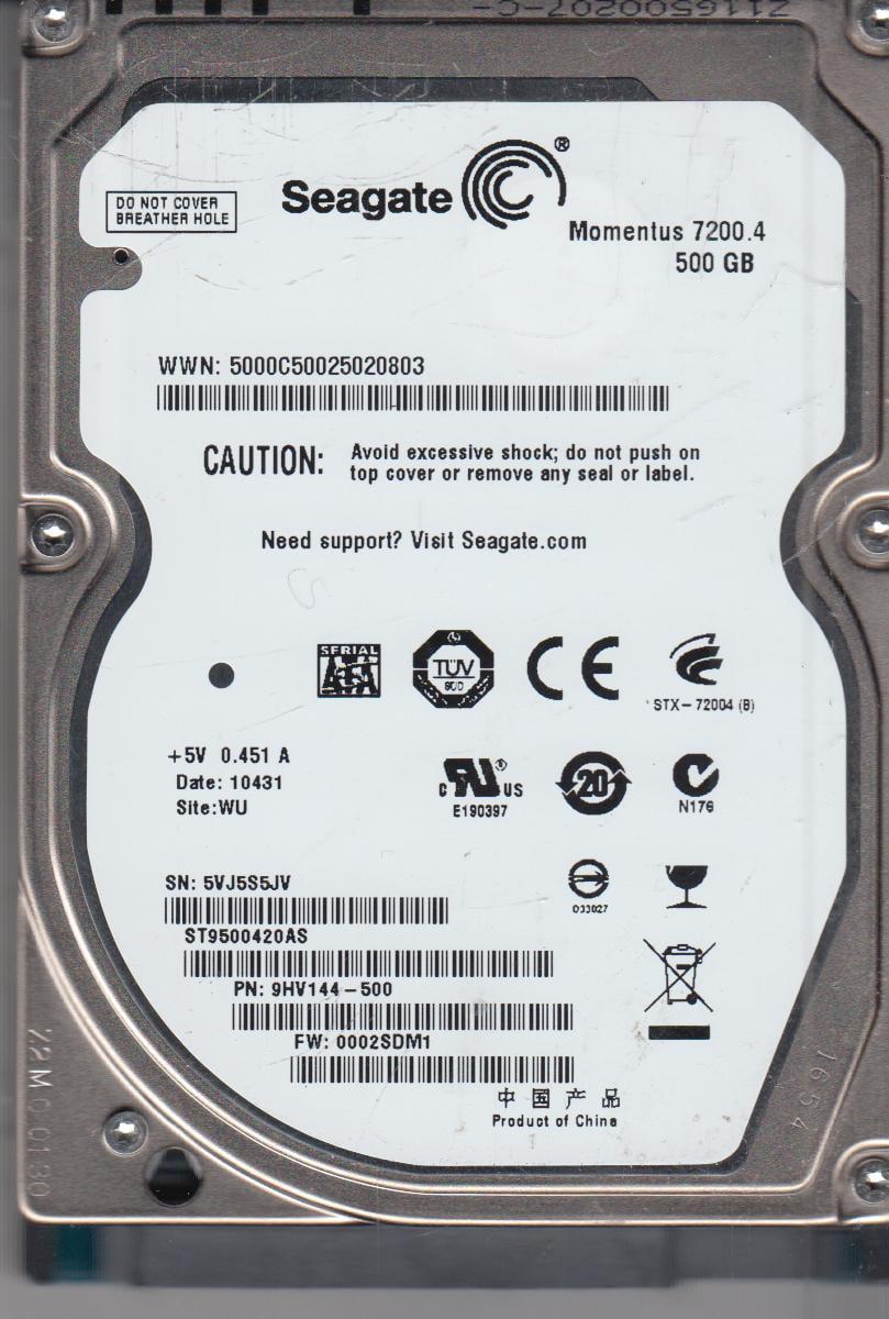 ST9500420AS, 5VJ, WU, PN 9HV144-500, FW 0002SDM1, Seagate 500GB SATA 2.5 Hard Drive by Seagate