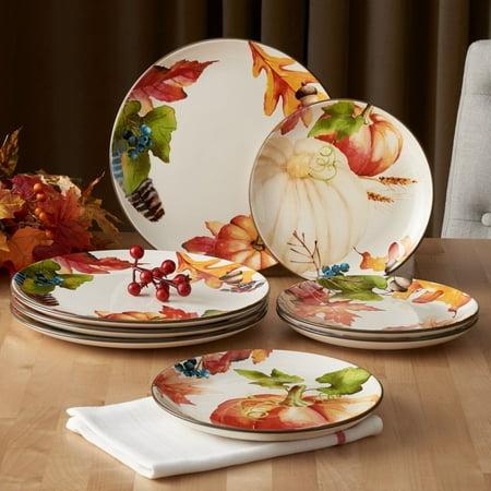Better Homes & Gardens 4-Piece Autumn Botanical Dinner Plate Set 4 Piece Dinner Plate Set