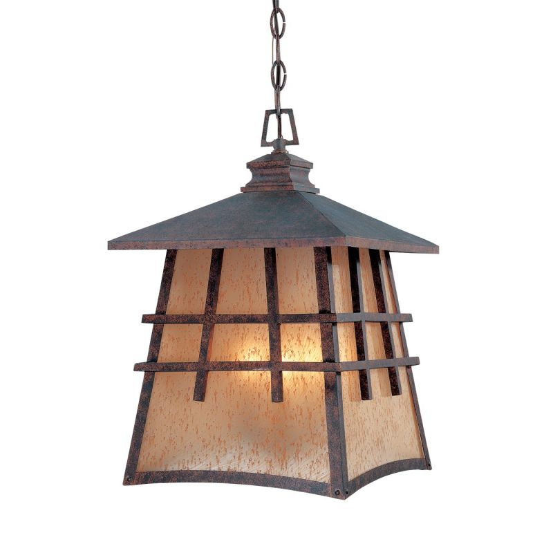 Designers Fountain Oak Park - Four Light Outdoor Hanging Lantern, Mediterranean Patina Finish with Amber Patina Glass