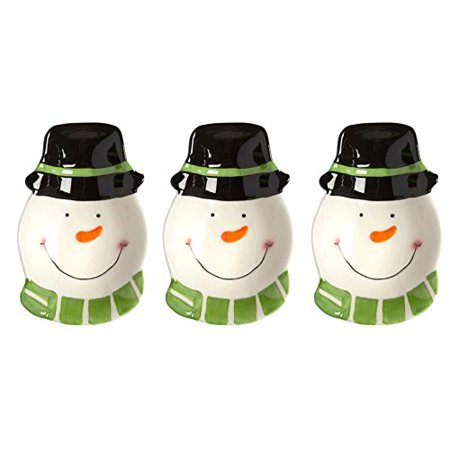Merry Mistletoe Christmas Holiday Black Hat Snowman Appetizer Tidbit Bowls, Set of 3