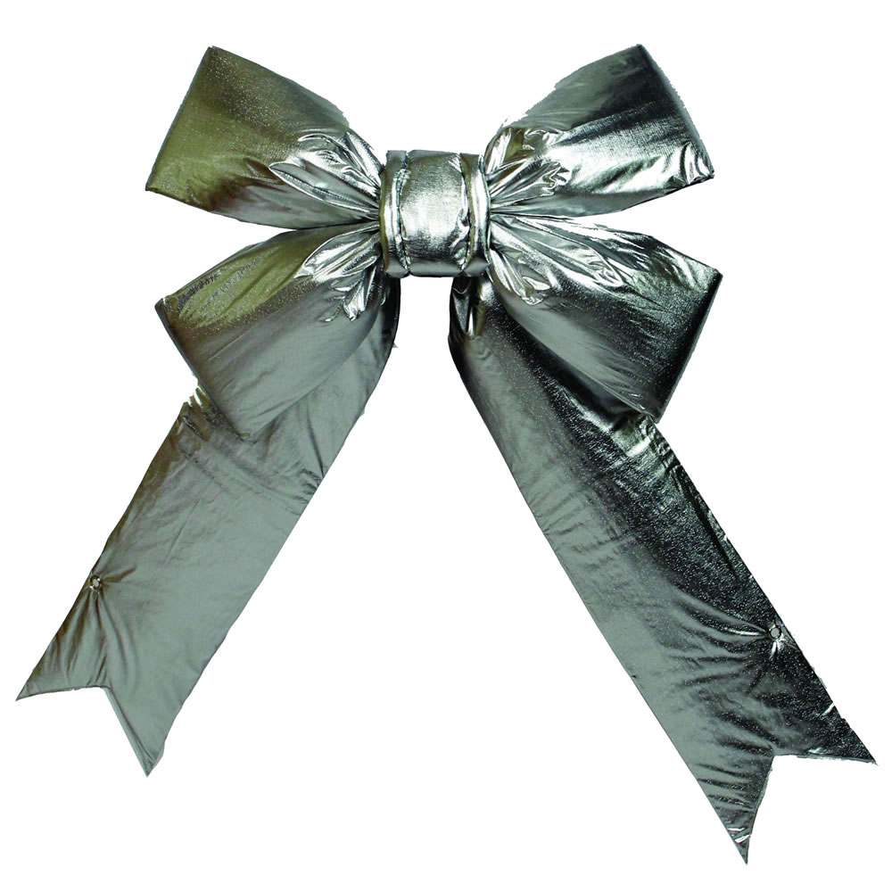 "12"" x 15"" Silver Lamé 4-Loop Indoor Christmas Bow"
