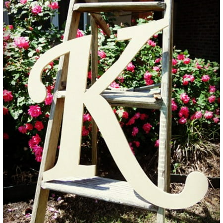 Unfinished Wooden Alphabet Letter, 24'' Monotype K, Large Unpainted