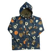 Little Boys Navy Sports Balls Rain Coat 3T