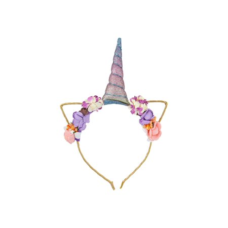 Lux Accessories Gold Tone Glittery Pastel Unicorn Horn Flowers Fashion - Diy Unicorn Horn Headband