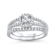 Princess Cut Center Wedding Set Cubic Zirconia Ring Sterling Silver 925