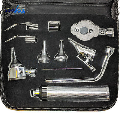 New Professional Ophthalmoscope / Otoscope Set ENT Surgical Instruments +4 Bulb