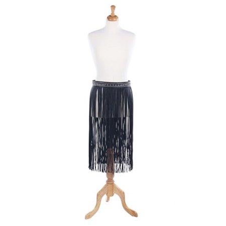 Womens Faux Leather Metallic Yarn Embellish Fringe Skirt Fashion Belt TAT21009