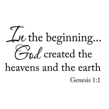 VWAQ In the Beginning God Created the Heavens and the Earth Genesis 1:1 Bible Decals Verses Quotes Scriptures Christian Wall Decor Stickers - Christian Halloween Quotes