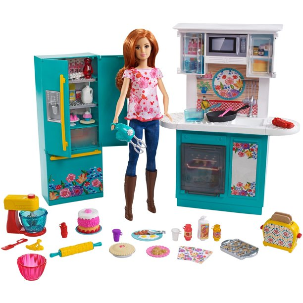 Barbie Pioneer Woman Ree Drummond Kitchen Playset With Cooking Chef Doll Walmart Com Walmart Com