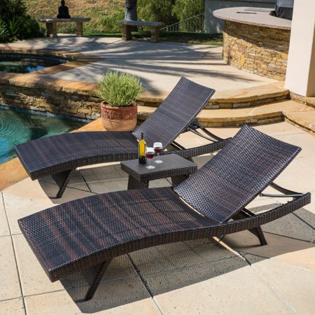 Raleigh outdoor wicker 3 piece chaise lounge set for Belmont 4 piece brown wicker patio chaise lounge set