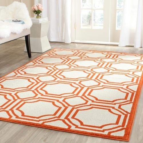 Safavieh  Amherst Indoor/ Outdoor Ivory/ Orange Rug (3' x 5')