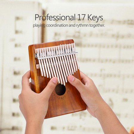 HURRISE 17-Key Portable Unique Thumb Piano Wooden Musical Instrument With tuning Hammer, 17 Key Thumb Piano For Adults Beginners Music Instrument Enthusiast(Burlywood) (Wooden Instruments Adult)