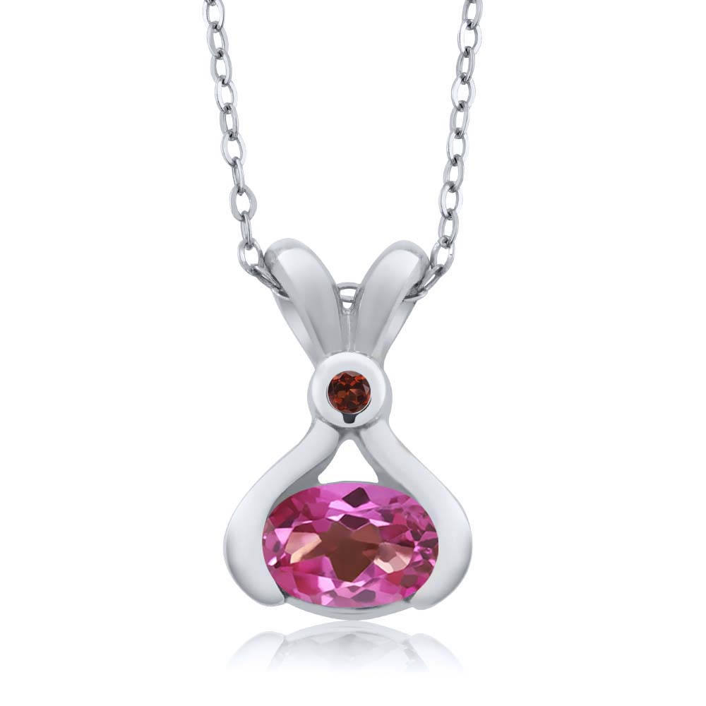 0.84 Ct Oval Pink Mystic Topaz Red Garnet 18K White Gold Pendant by