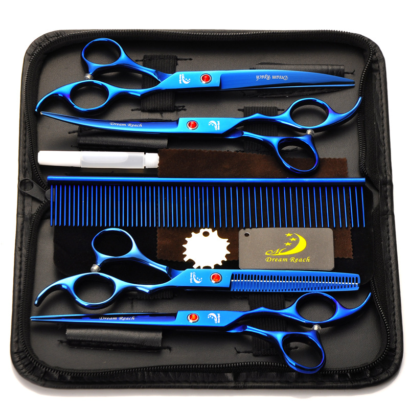 Blue 4Pcs/Set Hairdressing Scissors 7'' Professional Salon Barber Shears stainless steel Haircut Tool Kit with Comb for Adults Kids Hair Styling,Pet Dod Cat Grooming CoastaCloud