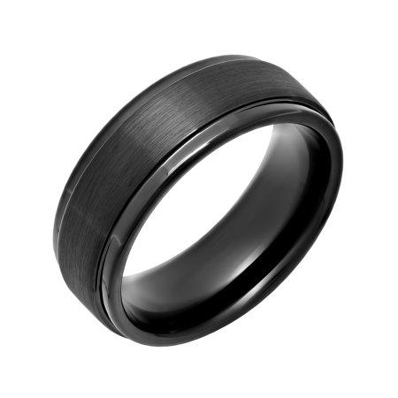 Steel Nation Jewelry Men's Black IP Tungsten 8MM Step Edge Comfort Fit Wedding Band - Mens - Black Gloss Ring