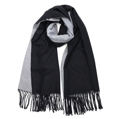 Wrapables Soft Cashmere Feeling Wool Blend Scarf, Large Two-Tone Winter Scarf Wrap Shawl, Black / Gray