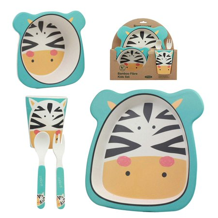 Ebros Whimsical Madagascar Safari Zebra 5 Piece Dinnerware Set For Kids Children Toddler Baby Made Of BPA Free Eco Friendly Organic Bamboo Fiber Fork Spoon Plate Bowl And Cup Ideal Baby Shower Gift](Kids Party Plates And Cups)