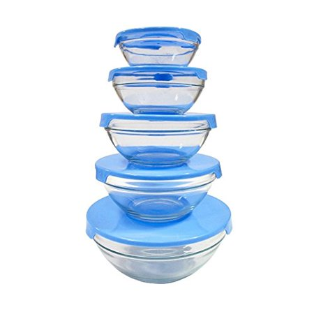EverTone Milex Home 5-Piece Heavy Duty Glass Bowl Set - Durable, Heat Resistant, Microwave/Dishwasher Safe Bowls With Seal Tops (Blue) ()