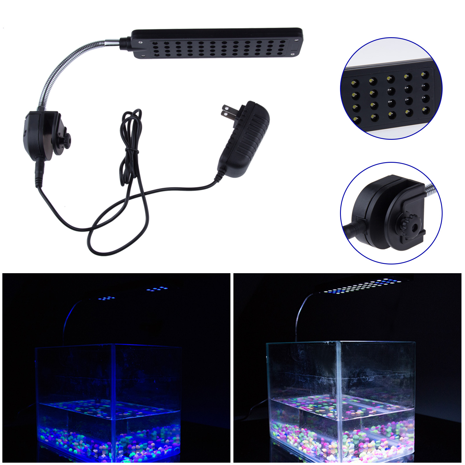 3W 48-LED Aquarium Lamp Fish Tank Clamp Light with 2 Mode Blue and White Light
