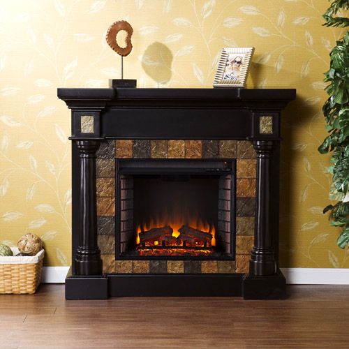 **NEW**Southern Enterprises Kentshire Convertible Electric Fireplace, Black with Faux Slate