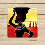 GCKG African Woman Towels,African Woman Beach Bath Towels Bathroom Body Shower Towel Bath Wrap For Home,Outdoor and Travel Use Size 13x13 inches
