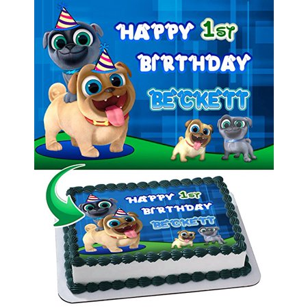 - Puppy Dog Pals Edible Cake Topper Personalized 1/2 Size Sheet Decoration Party Birthday Sugar Frosting Transfer Fondant Image