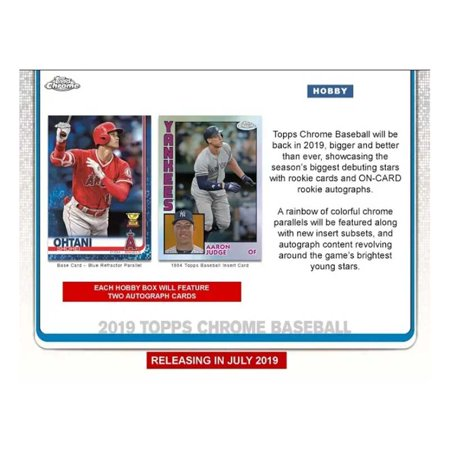 2019 Topps Chrome Baseball Hobby Box 24 Packs Of 4 Cards