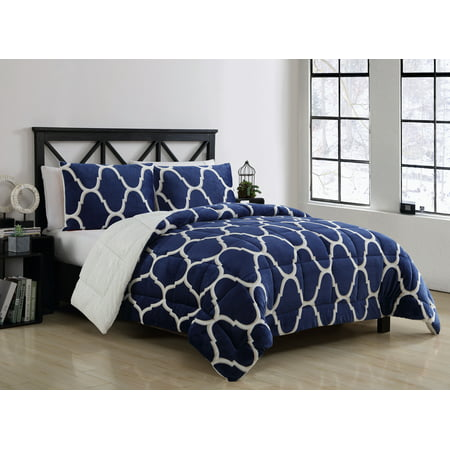VCNY Home James Printed Mink to Faux Fur Reversible 3 Piece Bedding Comforter Set, Shams Included ()