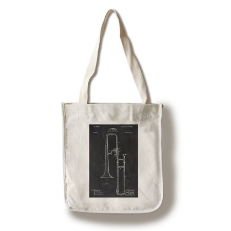 Blackboard Patent - Slide Trombone - Lantern Press Artwork (100% Cotton Tote Bag - Reusable)